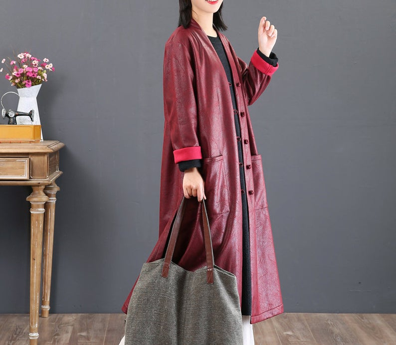 Leather Look Trench Coat Vegan Friendly