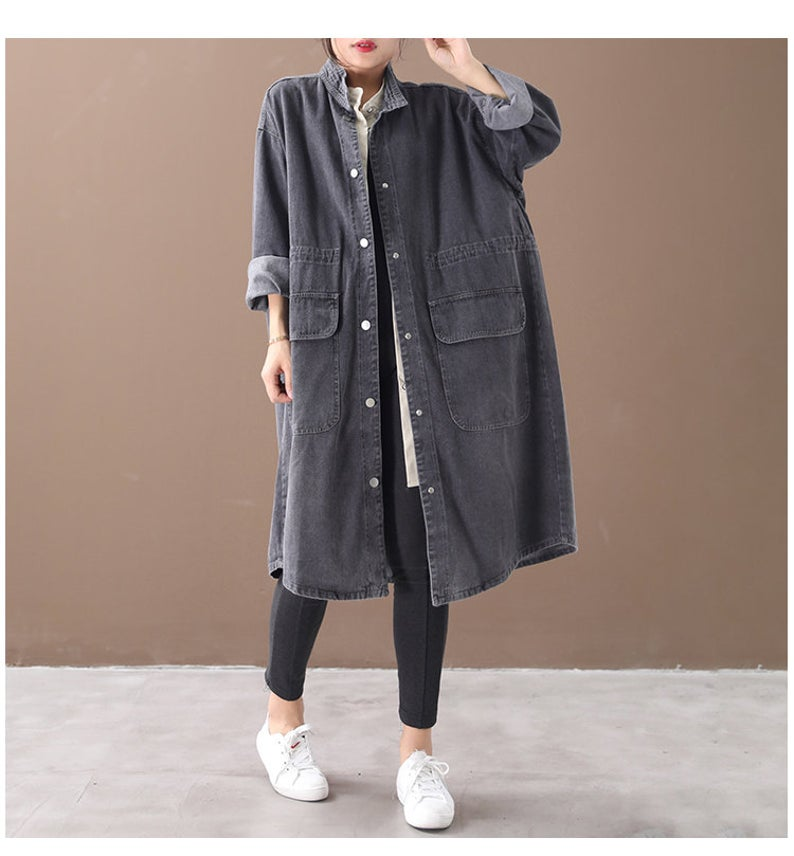 Coat Stitching Denim Asymmetrical Jacket