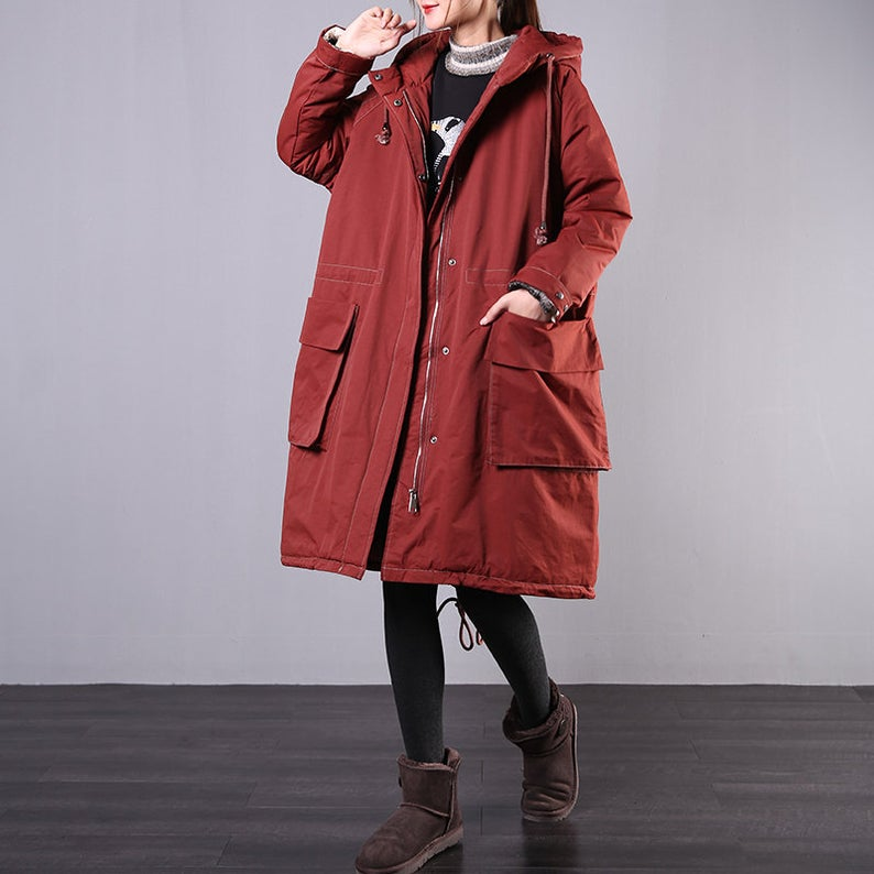 Hooded Cocoon Cotton Coat Jacket