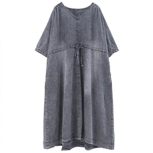 Loose Drawstring Washed Denim Dress