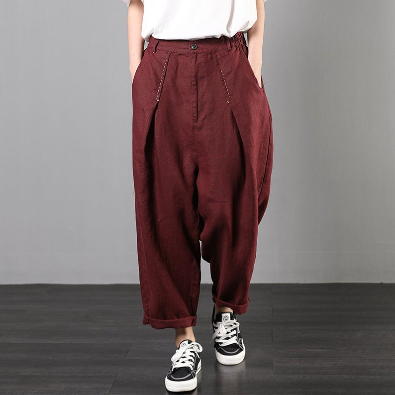 Elastic Waisted Loose Harem Pants Trousers