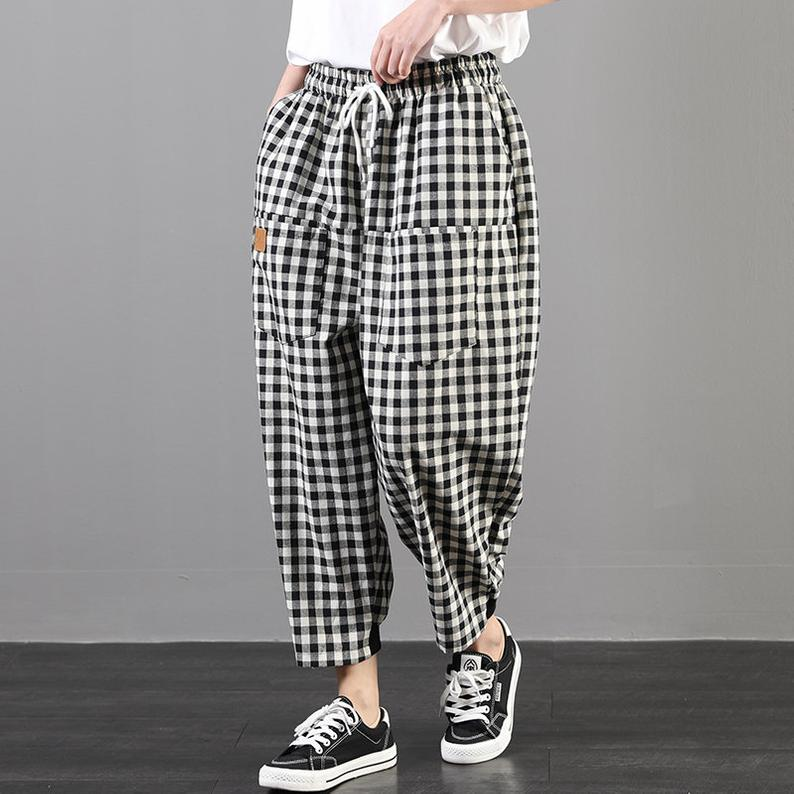 High Waisted Checked Harem Casual Pants