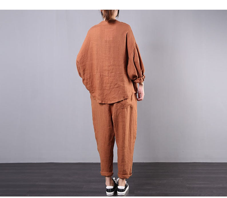 Women Loose Pure Color Harlan Linen Suit