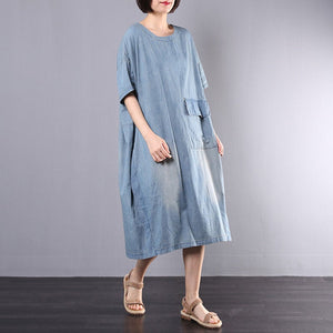 Women Loose Tunic Denim Short-Sleeved Skirt
