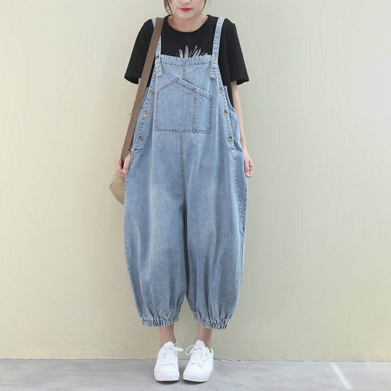 Loose Legged Washed Denim Overalls Jumpsuit