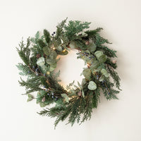 Frosted Berry & Pinecone Wreath with Micro Lights