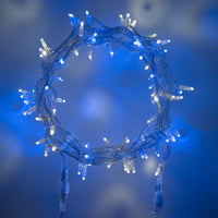 Guirlande Lumineuse Raccordable 100 LED Bleues & Blanches Câble Transparent 10m