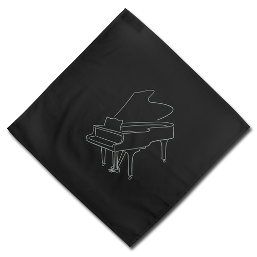 Bandana with Piano Design - black