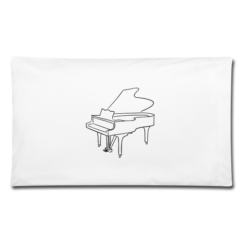 Pillowcase with Piano Design - white