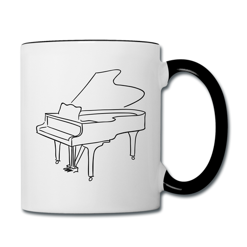 Coffee Mug with Piano Design - white/black
