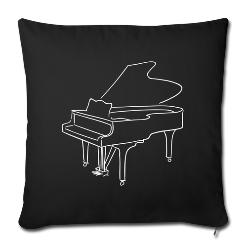 Throw Pillow Cover with Piano Design - black