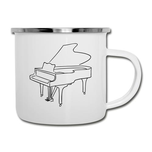 Camper Mug with Piano Design - white