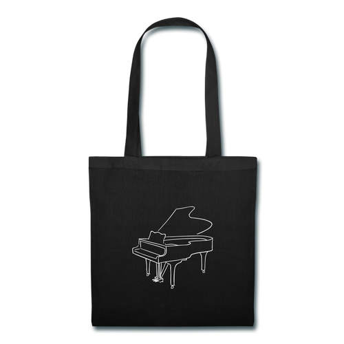 Tote Bag with Piano Design - black