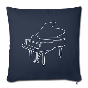 Throw Pillow Cover with Piano Design - navy