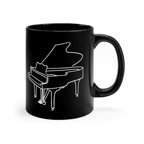 Black Mug with Piano Design