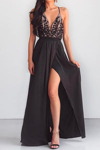 Spaghetti Strap High Slit Patchwork Evening Dress