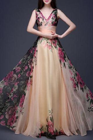 V-Neck Floral Printed Chiffon Evening Dress