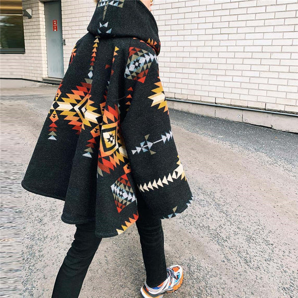 Women's Print Long Sleeve Coat