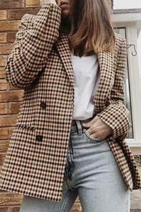 Vintage Notch Lapel  Double Breasted  Plaid Blazers