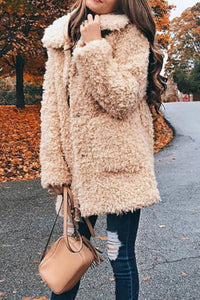 Lapel Furry Long Plush Coat