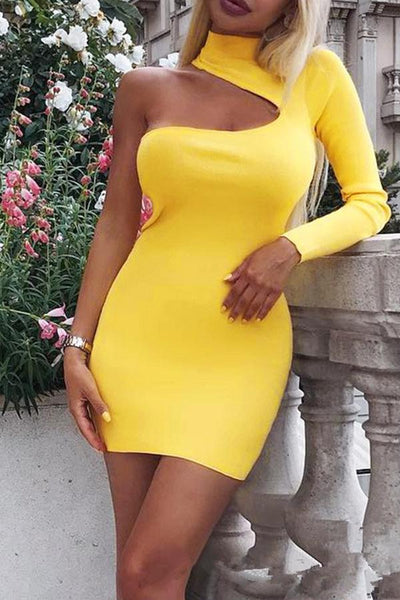 High Collar   One-Shoulder Sleeves Slim Bag Hip Midi Dress Party Dress