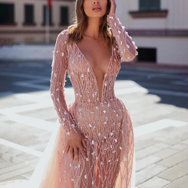 Finalpink Sexy Deep V-neck Translucent Slim Pink Evening Dress