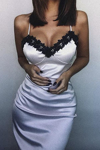 Sexy  V-Neck Lace Sling Nightgown