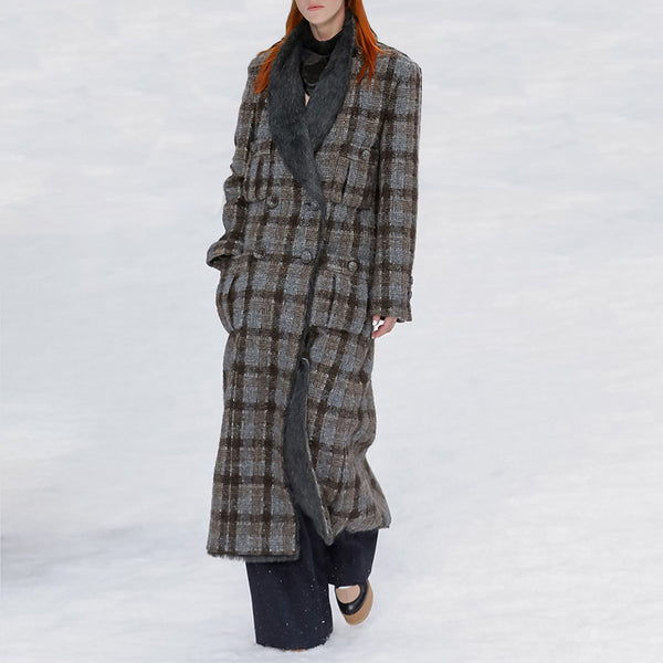 Women's Fashion Plaid Double Breasted Coat