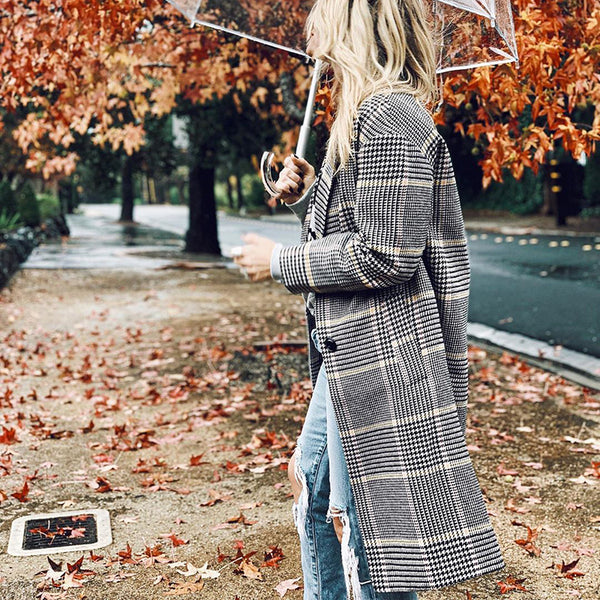 Women's fashion check wool coat