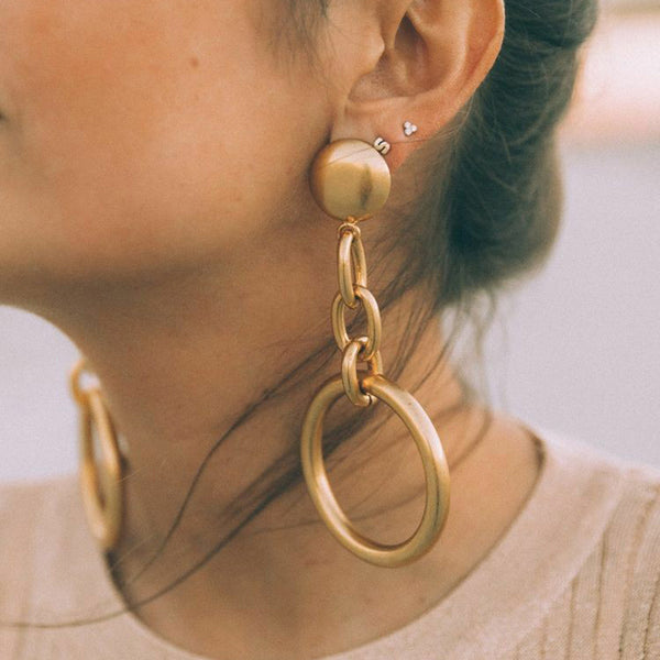 Fashion personality trend new chain geometric circle round women's earrings
