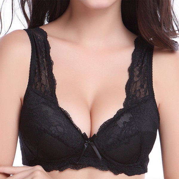 No steel ring big cup sleep bra sexy lace beauty back micro-gathered adjustable vest bra