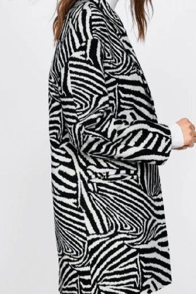 Fashion Loose Zebra Printed Long Woolen Coat