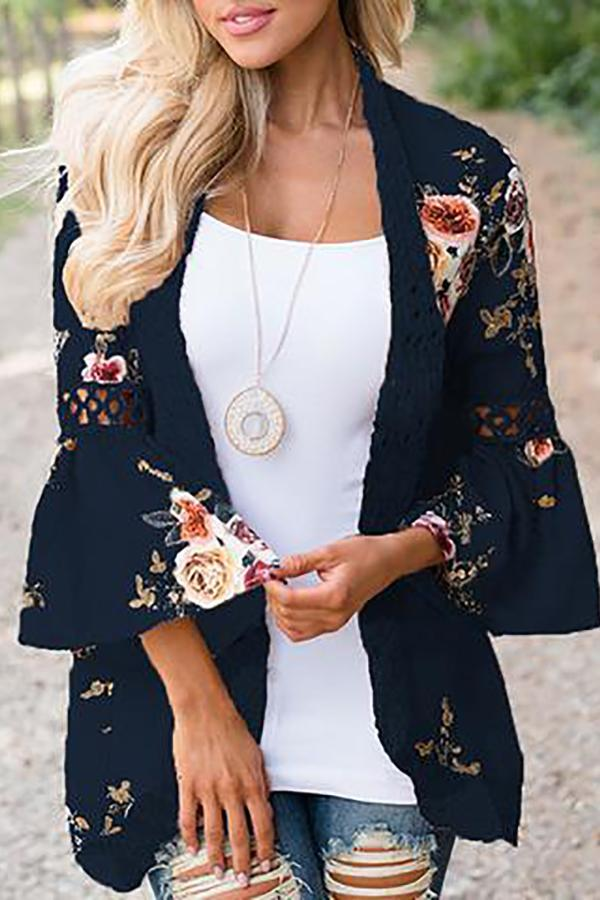 Lace Splicing Flare Sleeves Floral Cardigan