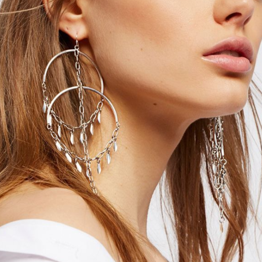 Fashion Leaf Tassel Large Circle Earrings