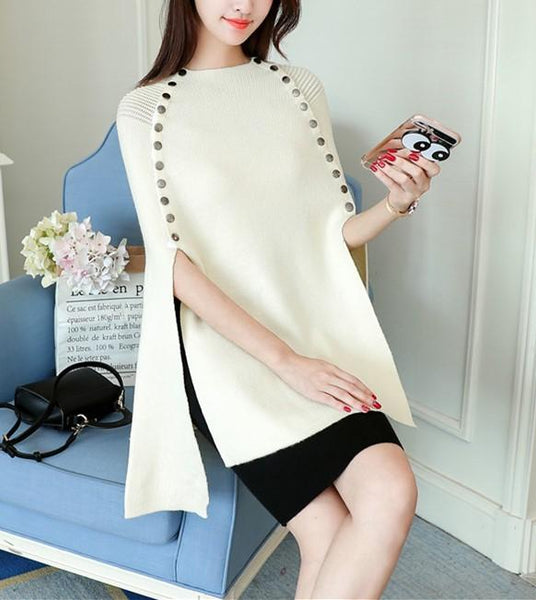 Casual Pure Color   loose Knitted Cape shawl