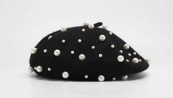 Pearl-Decorated Woolen Beret