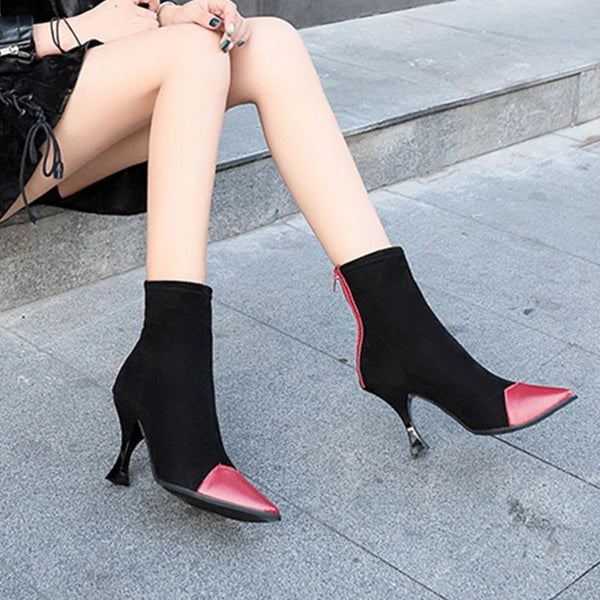 Autumn And Winter New Martin Boots Boots Women's Pointed Back Zipper Color High Heel Stiletto Fashion Slip