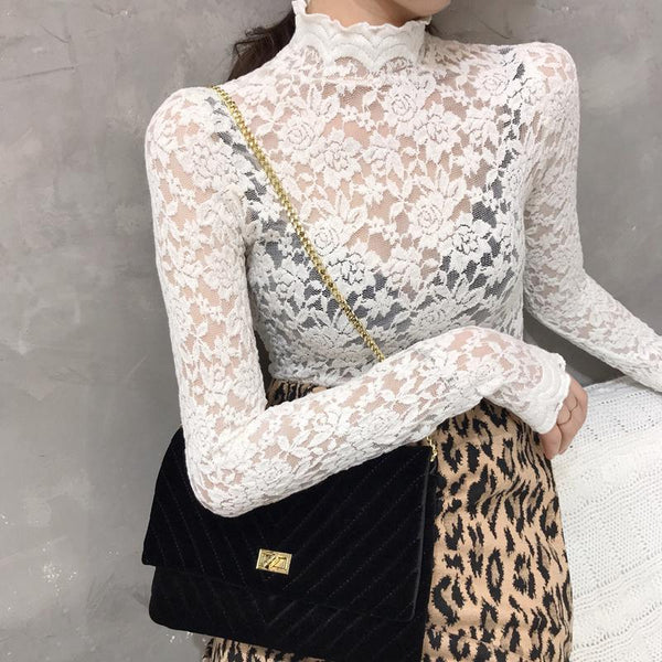 Fashion Stand Collar Bell Sleeve Lace Inwrought Shirt