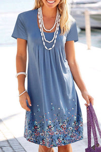 Floral Chest Pleated Casual Dress