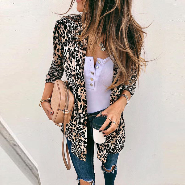 Fashion Long Sleeve Leopard Print Coat