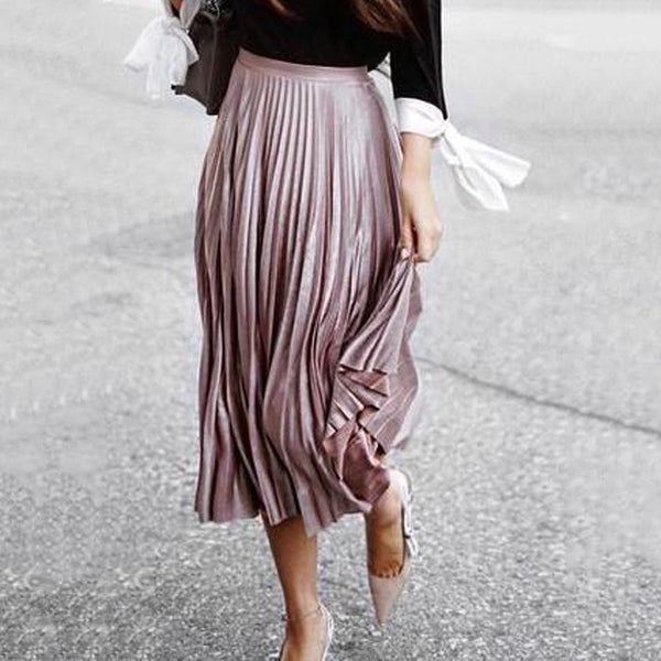 Elegant Chic Loose Pleuche Solid Color Elastic Waist Long Skirt