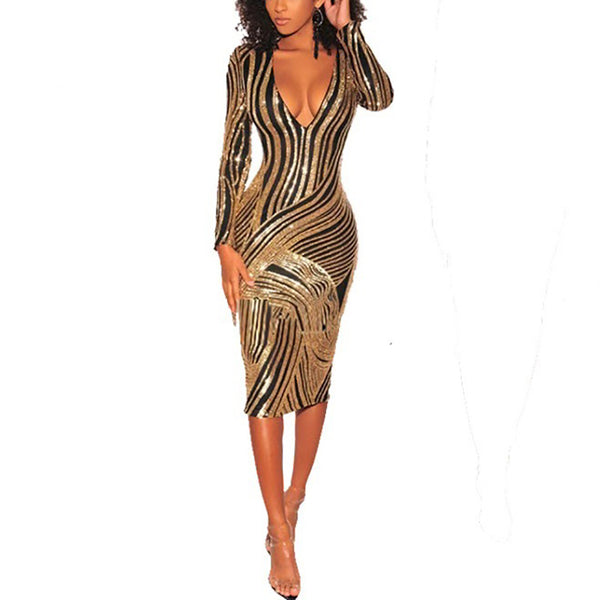 Sexy Deep V Sequins Striped Slim Bodycon Dresses