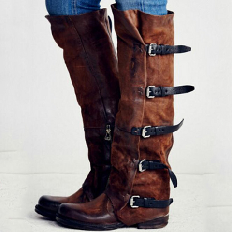 Ruffle Knee Boot With Buckle Straps