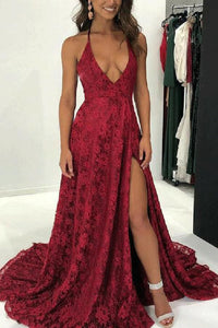 Sexy Deep V Collar Backless Slit Maxi Dress