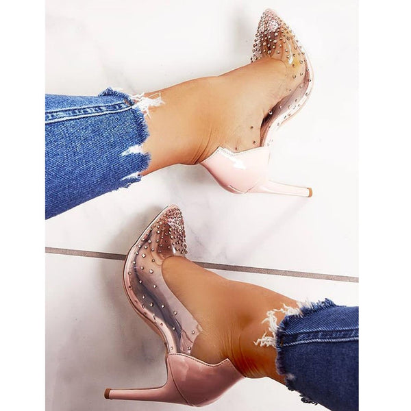 Rhinestone Embellished Transparent Thin Heels