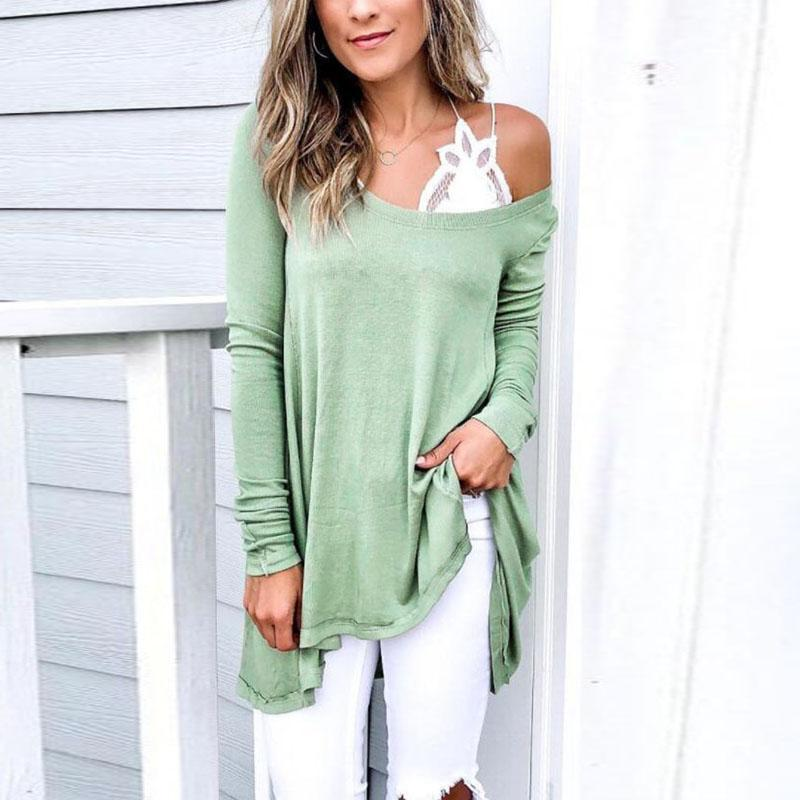 One Shoulder  Asymmetric Hem  Plain T-Shirts
