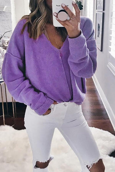 Fashion Sexy V Collar Plain Sweater