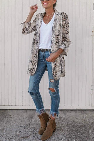 Fashion Lapel Leopard Printed Slim Long Coat