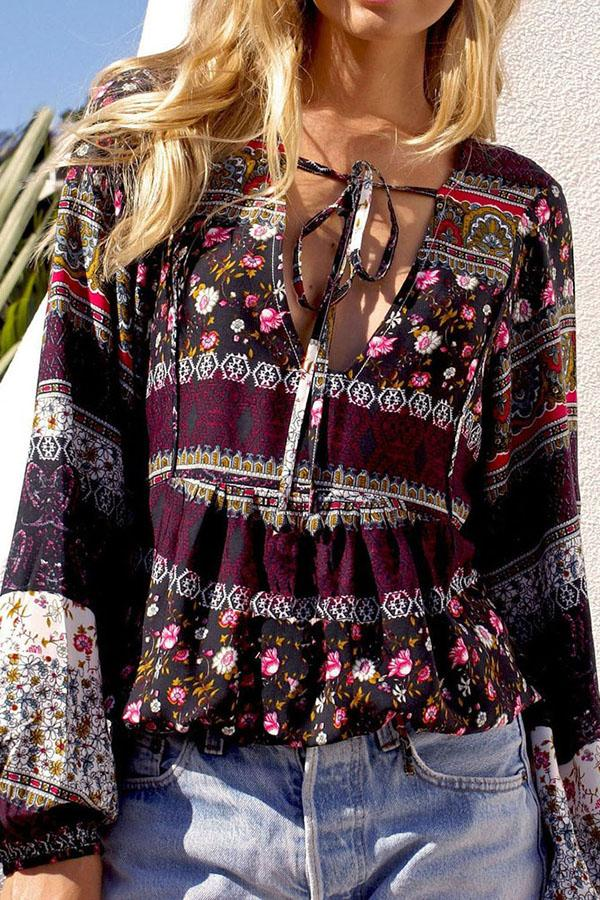 Fashion Bohemia Long Sleeve Floral Printed Blouse