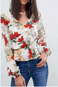 Fashion V Collarr Floral Printed Shirt